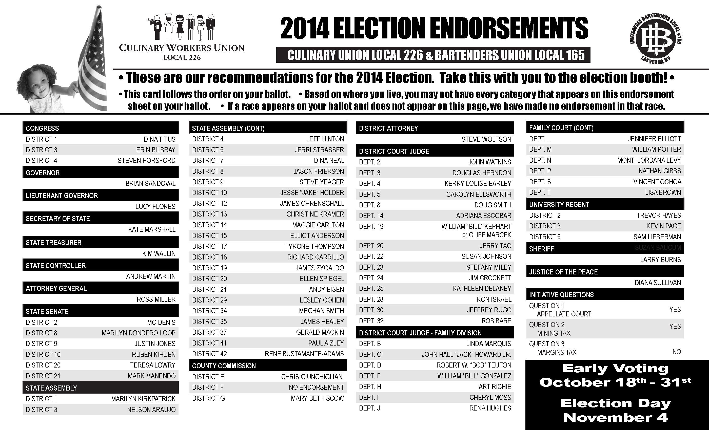 2014 Endorsements